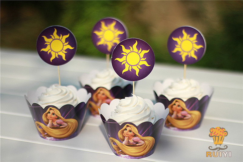 24kpl Cartoon Rapunzel Paperi Cupcake-käärepaperi Toppers Cake Cups Poimii Baby Shower Kids Birthday suosii Party Decoration tarvikkeita