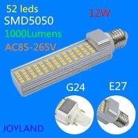 E27/G24 12 Watt 5050 SMD 52 FÜHRTE Mais Glühbirne Lampe Warmweiß/Weiß AC 85 V-265 V Dhl-freies verschiffen