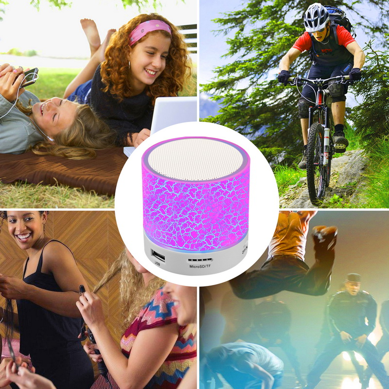 OUTMIX Portable Mini Bluetooth Speakers Wireless Hands Free LED Speaker TF USB FM Sound Music For iPhone X Samsung Mobile Phone in Portable Speakers from Consumer Electronics