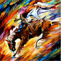 Handpainted Modern Abstract Riding Horse Cowboy Oil Painting Canvas Frameless Decor Horse Pictures For Home Decoration Pictures