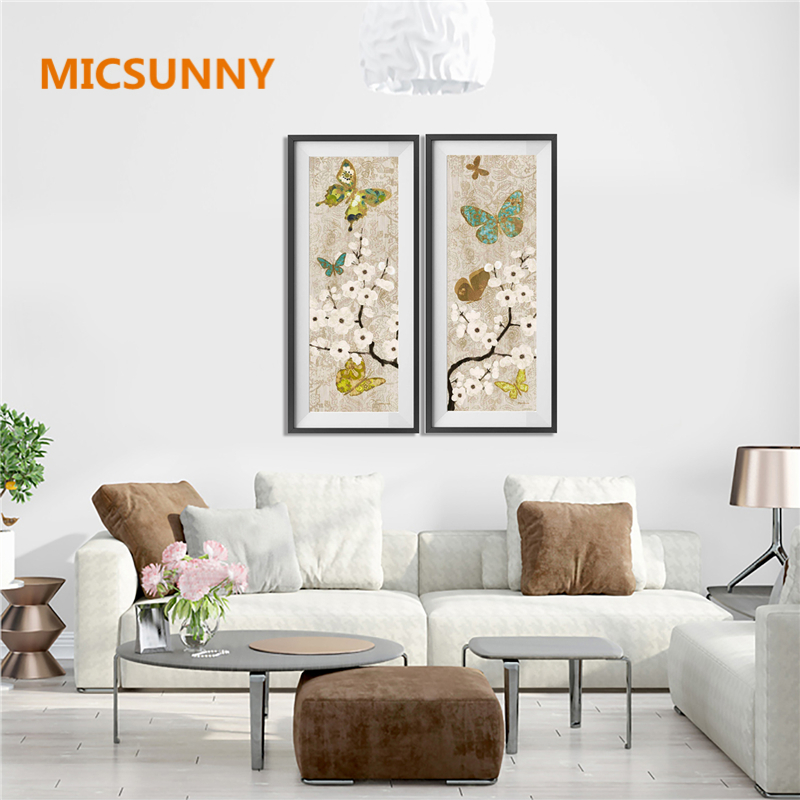 Micsunny canvas home decorations vintage butterfly wall art paintings picture for living room modern plum flowers