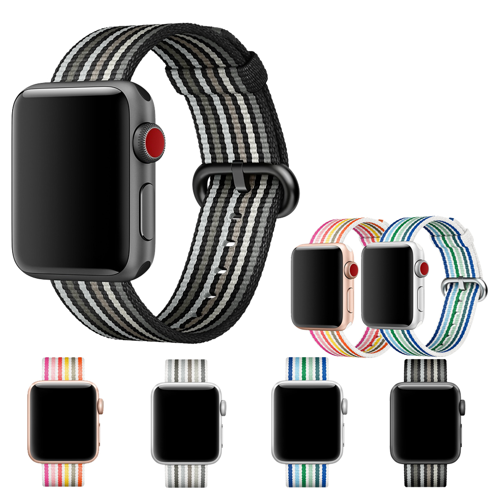 Sports Nylon Strap for Apple Watch Band 42mm 38mm Wrist Braclet & fabric like woven nylon watchband for iwatch 3/2/1 black belt band for apple watch pink stripes woven nylon fabric buckle watchband 38mm 42mm sport strap for iwatch 2 watches accessories