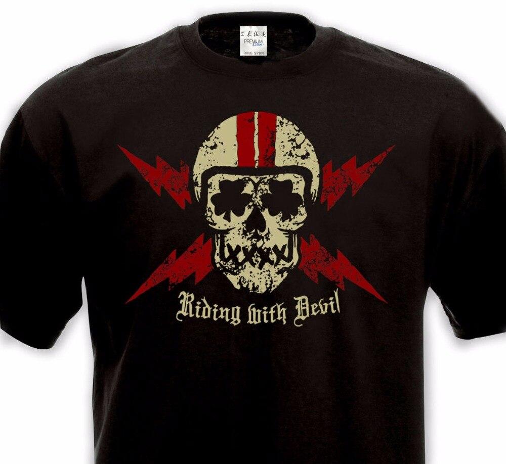 GILDAN Short Sleeve Hip Hop Tee T Shirt Fashion T-Shirts Slim Fit O-Neck RIDING WITH DEVIL Cafe Racer Bikers T Shirts