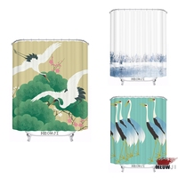 Japanese Style Elegant Red crowned Crane printed custom Shower Curtain Bathroom decor various sizes Free Shipping