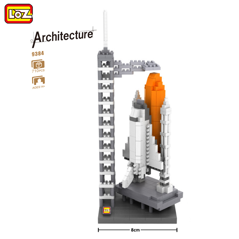 LOZ Diamond Blocks Famous Architecture 710pcs Technic Space Launching Center Building Blocks Model Toy for Children Brick 9384 hot toys nanoblock world famous architecture statue of liberty building blocks mini construction brick model iblock fun for kid