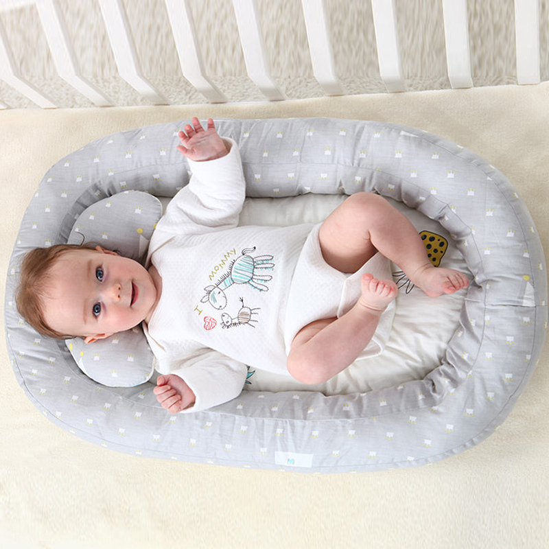 Folding Baby Bed Crib Cotton Travel Cradle Cots Baby Infant Sleep Nest Bed Lounger Toddler Cradle Pillow Sleep Positioning Wedge