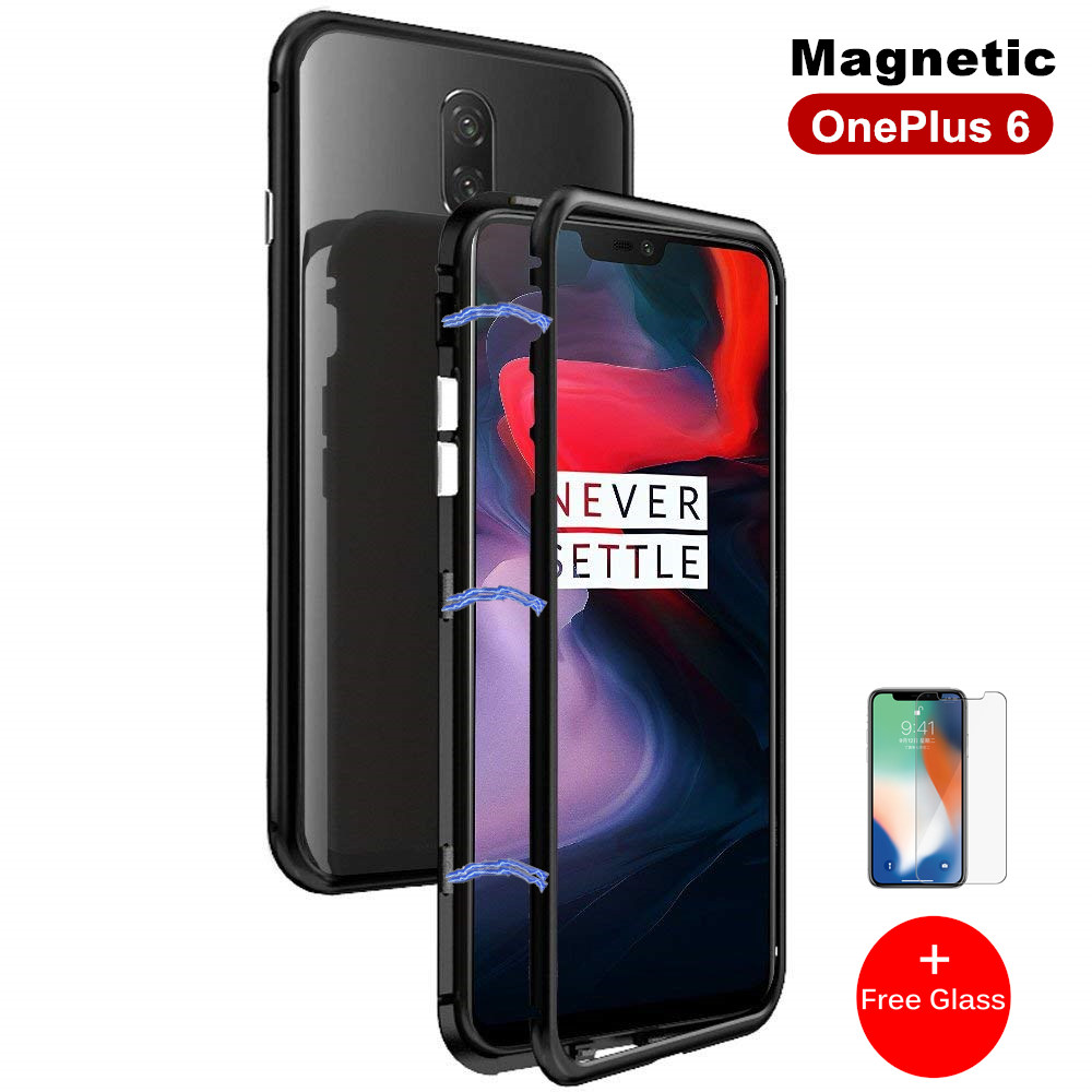 Built-in Magnet Case for OnePlus 6 Clear Tempered Glass Magnetic Adsorption Case for One+ 1+ 6 Metal Ultra Cover bumper