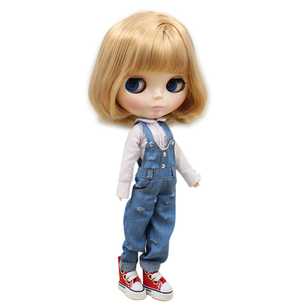 blyth joint doll factory 130BL2240327 light Brown hair with bangs hair it suitable for 1/6 doll girl present DIYspecial offer-in Dolls from Toys & Hobbies    1