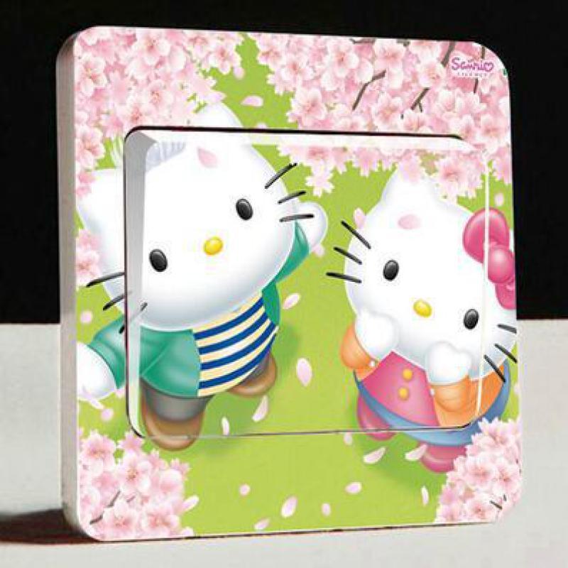 appealing hello kitty living room | 1pcs creative cartoon light socket switch stickers cute ...