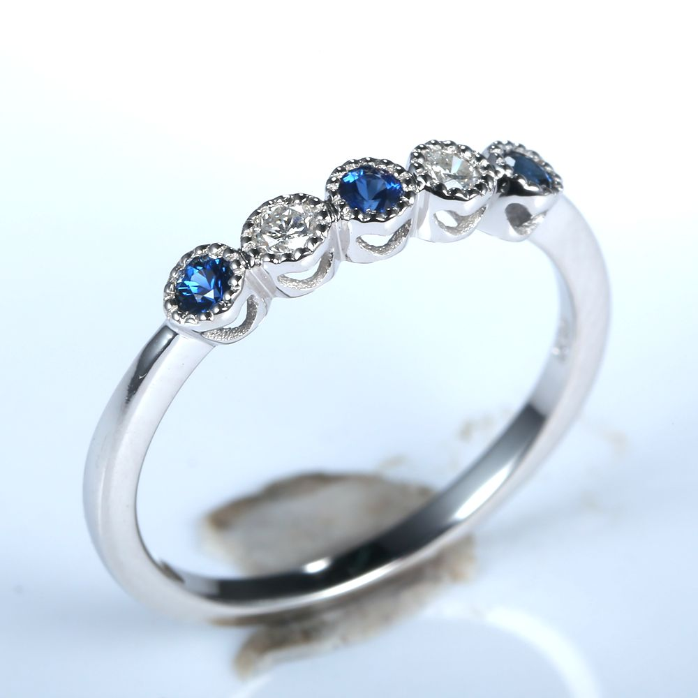 Solid 14k White Gold Natural Diamonds Sapphires 2mm Round Cut Engagement  Ring Women Wedding Band Party