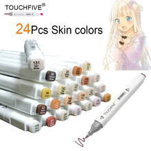 TOUCHFIVE 24 Colors Sketch Skin Tones Marker Pen Artist Double Headed Alcohol Based Manga Art Markers brush pen art supplies