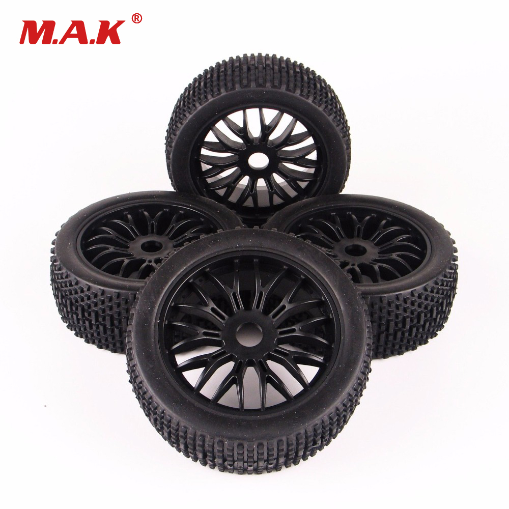 4Pcs Ruber Tires Tyre Wheel Rims For HPI HSP Traxxas 1:8 RC Off-Road Car Buggy 1 8 buggy on road tires 17mm for kyosho hobao hsp hpi 4pcs tires