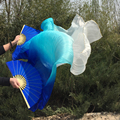 Горячая-продажи 100% натурального шелка вентилятор вуаль для танца живота или сценическое + - синий + белый 3 цвета смешанные