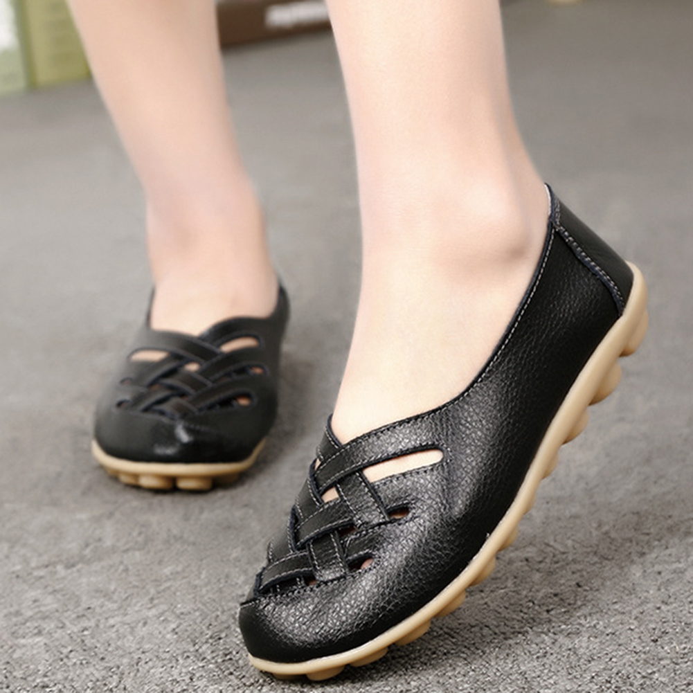 Women Hollow Leather Flats Casual Loafers Anti-Slip Solid Color Sneakers Shoes