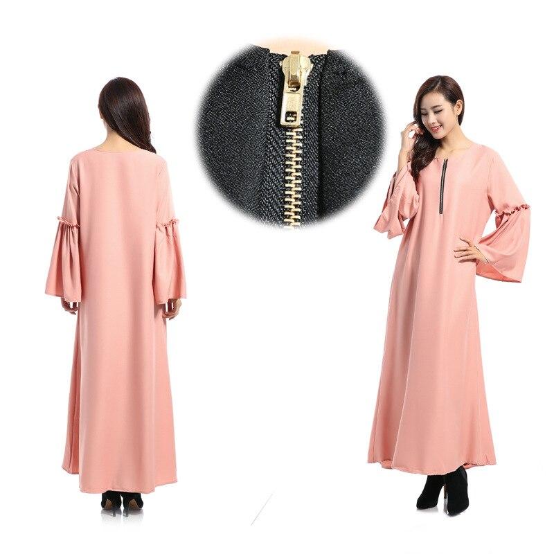 Les nouvelles caractéristiques de robe musulmane à manches longues des robes lâches arabes couleur Pure lumière du soleil chanvre dimanche vêtements - 2
