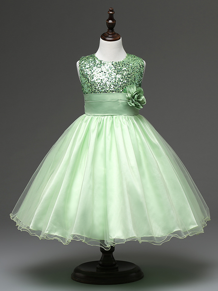 Fashion kids party casual dresses wear wedding sequins short apple ...