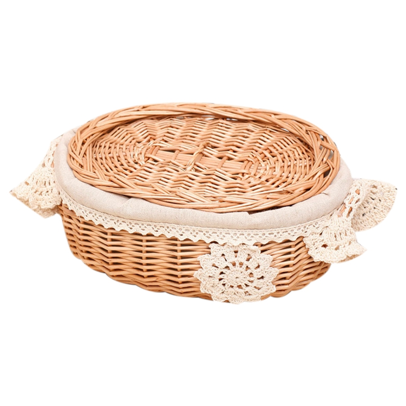 Wicker Rattan Storage Basket Large With Lid Snack Basket Home Living Room Decor Toy Debris Finishing Storage Tool Storage Bask(China)