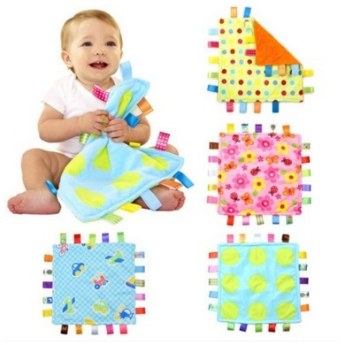 7Style 30cm Baby Comforting Taggies Blanket Super Soft Square Plush Baby Appease Towel Baby Toys-in Baby Rattles & Mobiles from Toys & Hobbies