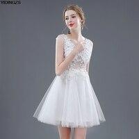 Short Wedding Dresses 2016 White Color V Neck Flowers Beades Sexy Wedding Dress