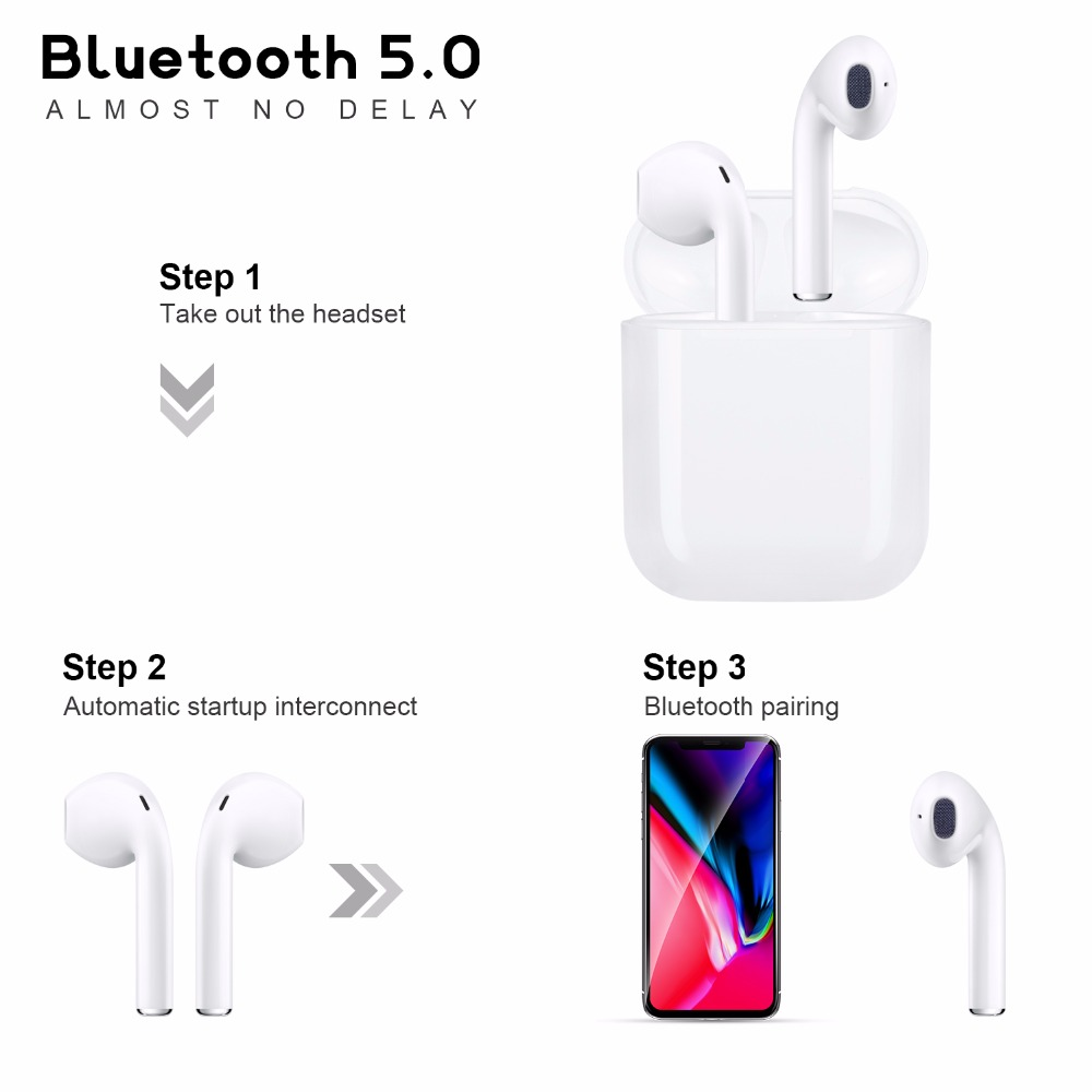 Best Deep Bass Airplus I12 TWS True Mini Bluetooth 5 0 Wireless Headphones  Earphone VS I10 TWS Mini X3 Support wireless charging