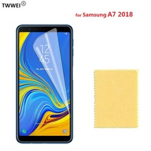 Glossy Clear LCD Screen Protector for Samsung Galaxy A7 2018 Protective Film for Samsung A7 2018 2017 Screen Protector Film Foil pudini protective clear screen protector film guard for samsung galaxy express i8730 transparent