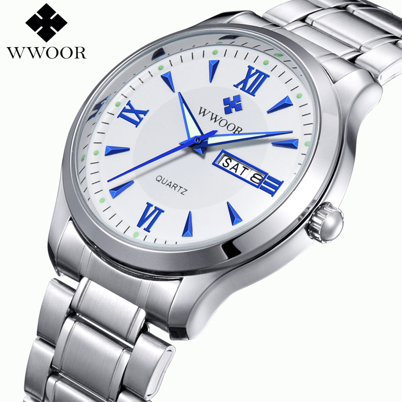 WWOOR Brand Men's Watch Luminous Hours Day Date Clock Stainless Steel Luxury Casual Quartz-watch Men Sports Watches Male Relogio