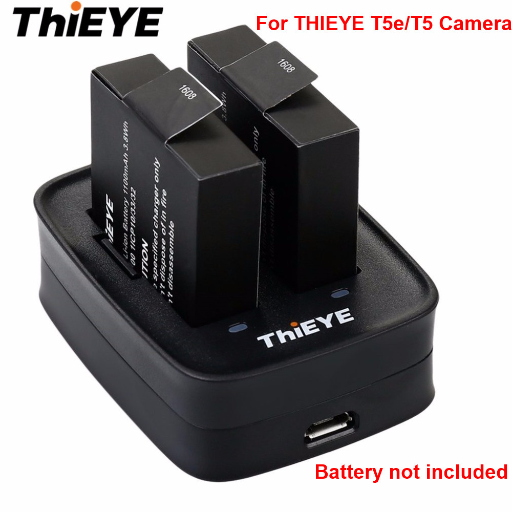 Original THIEYE 1100mAh Action Camera Battery USB Charging Dock Double Charging Battery Charger for THIEYE T5e/T5 Camera