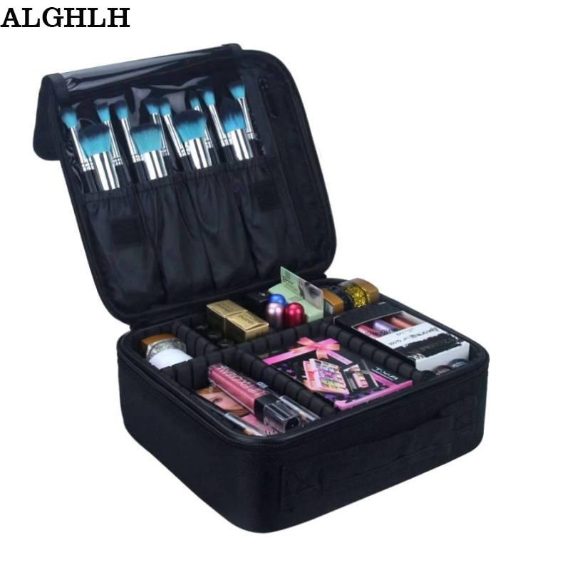 ALGHLH Brand Upgrade Nastavitelné Ženy Profesionální make-up Bag Cestovní vodotěsný organizér Tattoo Nail Art nástroj kosmetické pouzdro  t