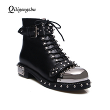 Women Rivets Genuine Leather Booties Punk Gothic Style Black Lace Up Ankle Boots Shoes Studded Decorated Motorcycle Martin Boots цена