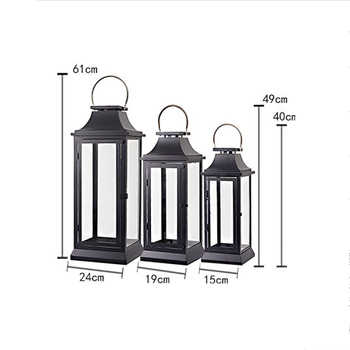 2019 Retro American Rural Large Landing Windproof Iron Candle Table Courtyard Home Shop Furnishings Glass Candle Holder Stand