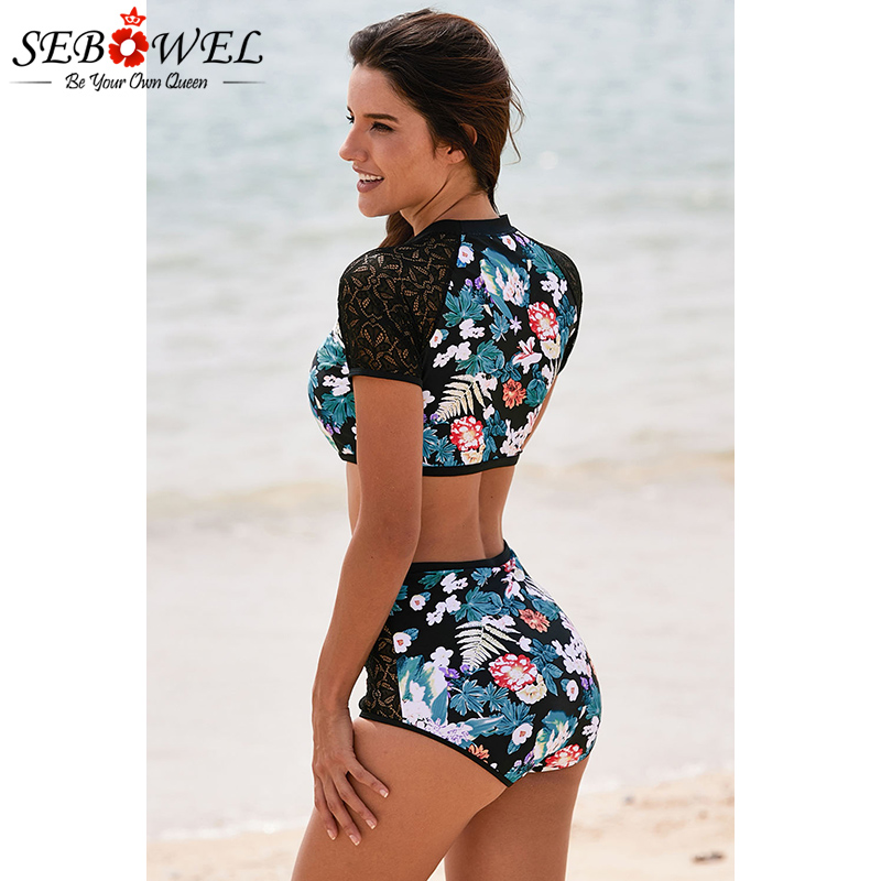 SEBOWEL Sexy 2019 Lace Hollow Floral Print Two Piece Swimsuit Women Short Sleeve Rash Guards Surfing Swimwear Maillot Bain Femme in Rash Guard from Sports Entertainment