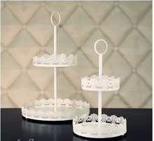 Iron tray double lace white / snack fruit plate cake rack candy dish