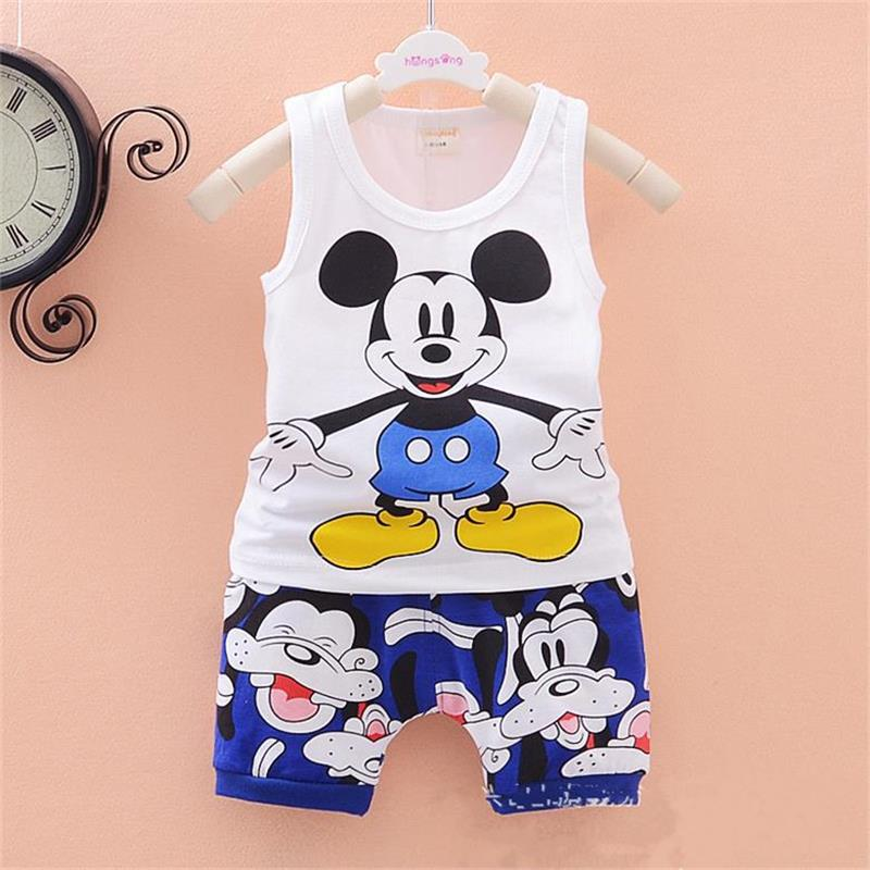 fashion baby boys girls Clothes set Kids Minnie Vest +short pant summer style sport suit Children Clothing cartoon mickey sets