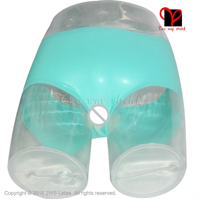 Jade Green Sexy Latex Underwear Lips Rubber Briefs Pants -9228