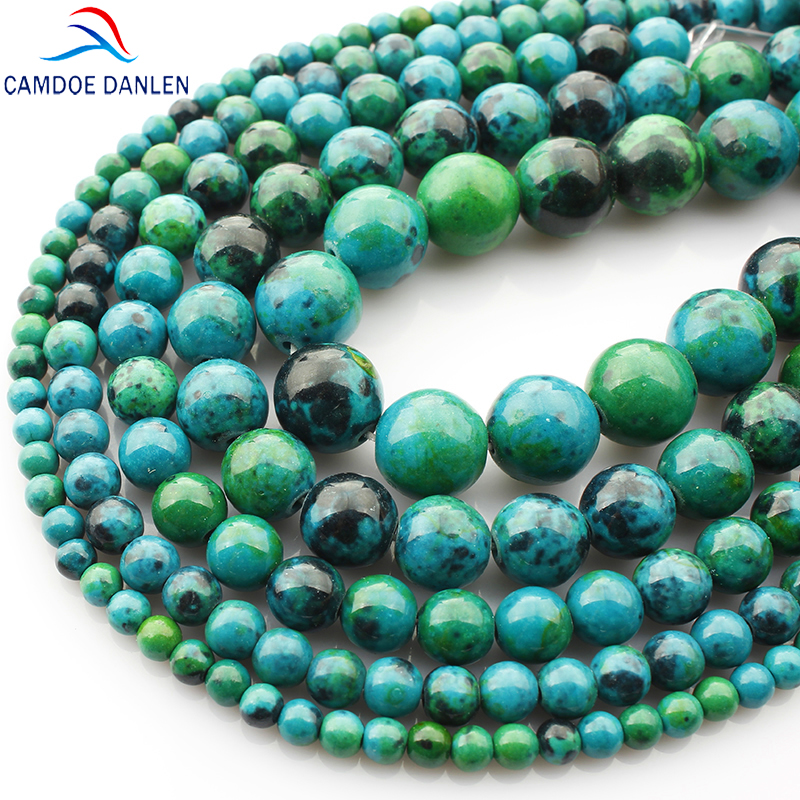 Phoenix Stone Round Beads Chrysocolla beads Loose ball Size 4/6/8/10 / 12MM Diy Charms Man Gelang Handicraft Gift Making Gift