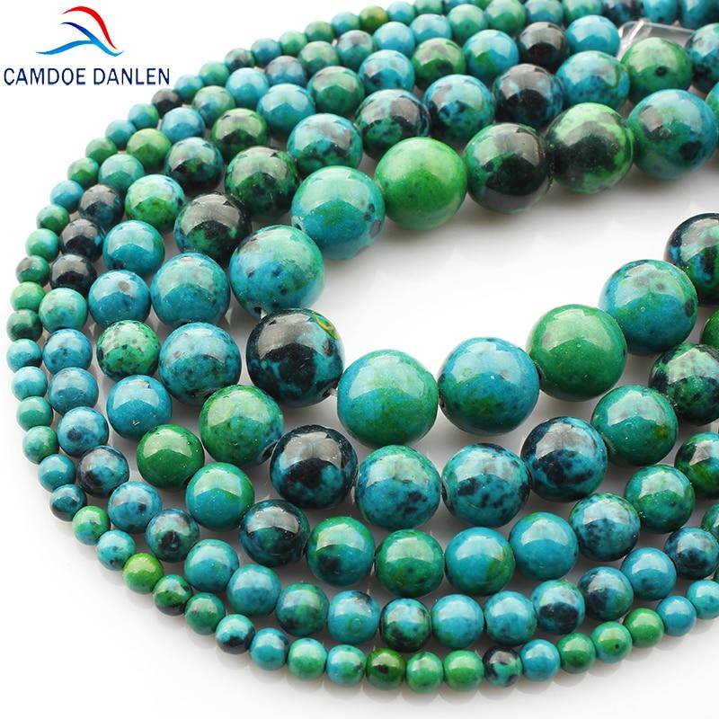 Phoenix Stone Round Beads Chrysocolla krelles Loose ball Izmērs 4/6/8/10 / 12MM Diy Charms Man rokassprādze Amatniecības dāvanu rotaslietas