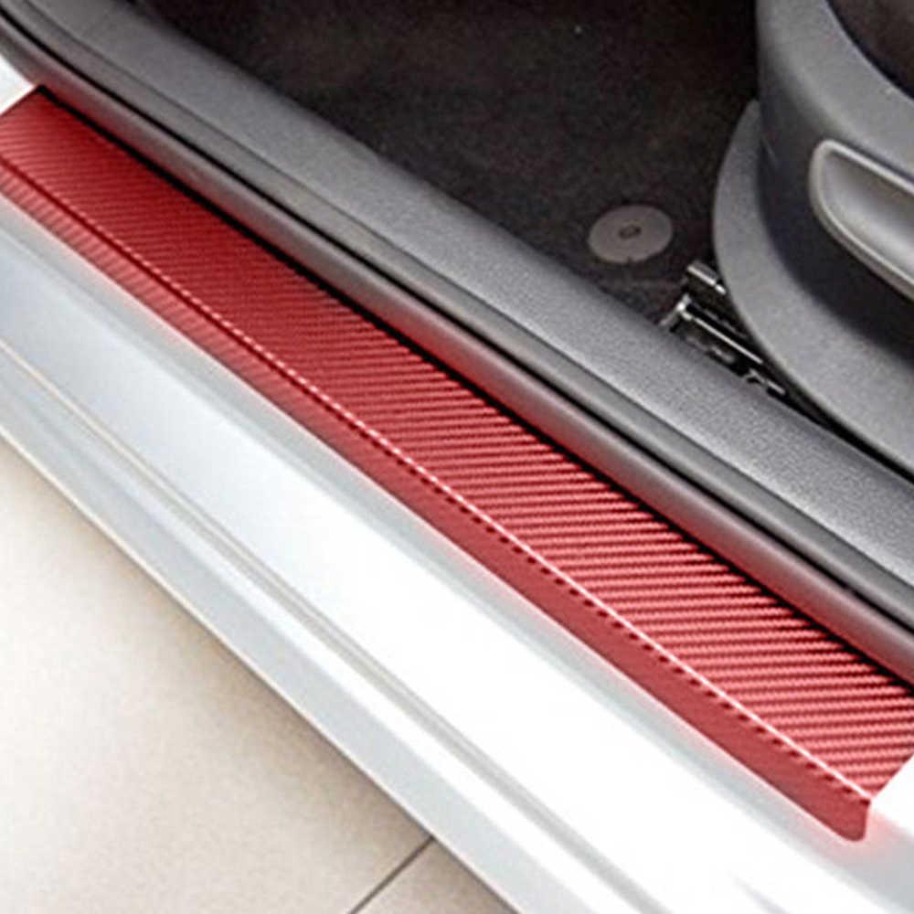 4Pcs Universal 3D Adesivo Fibra De Carbono Carro Preto Vermelho do Peitoril Da Porta Scuff Pedal Bem-vindo Proteger Adesivo Cobrir Anti Arranhão decoração do carro