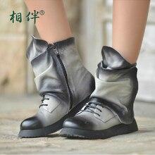 2016 осенние ботинки женщин натуральной кожи ручной работы vintage кисть-офф лодыжки сапоги широкие и толстые ноги сапоги бесплатная доставка