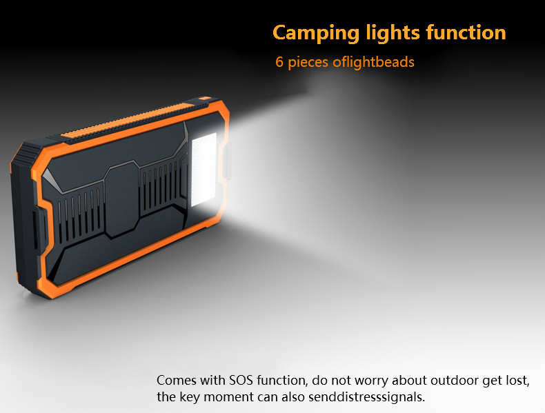 Solar Power Bank Dual USB Power Bank 20000 MAh Waterproof PowerBank Bateria External Portable Solar Panel