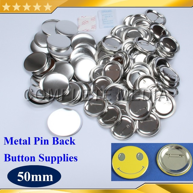 """100 Sets of 2"""" 50mm Pin Back Metal Pinback Button Supply Materials for Professional All Steel Badge Button Maker"""