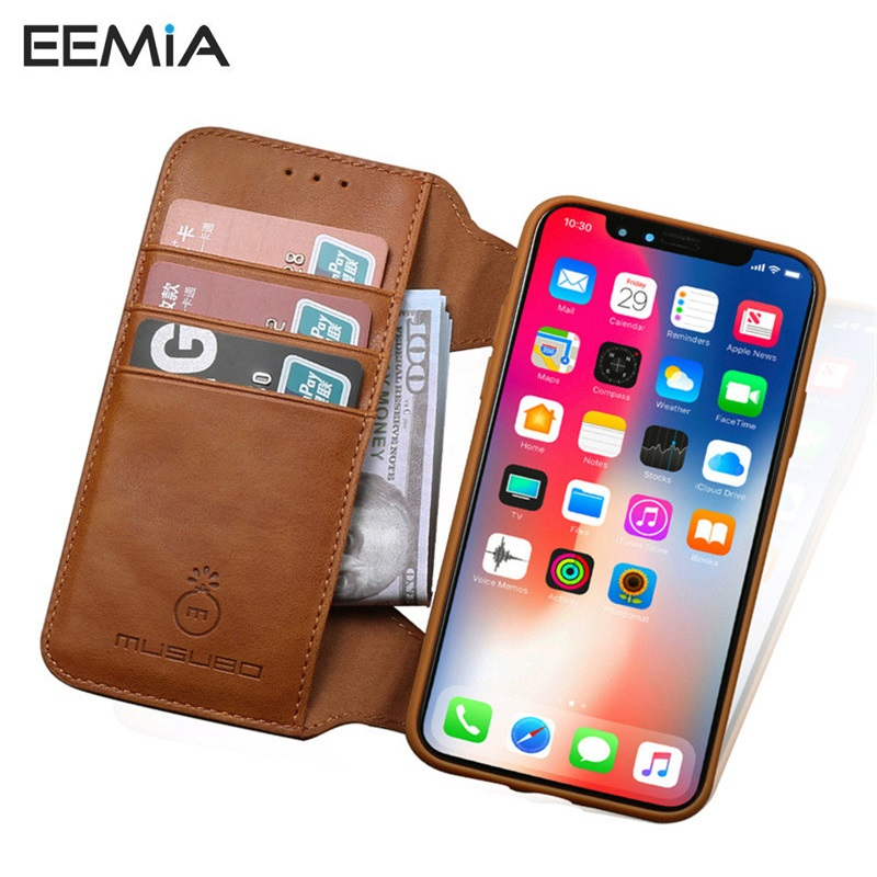 Eemia чехол для iphone 8 Plus кожаный чехол ПУ + ТПУ силиконовый съемный кошелек чехол для iPhone X (10) 8 7 6 6 S плюс Телефонные чехлы
