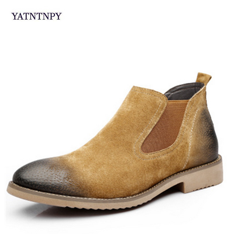 YATNTNPY fashion men's boots British style authentic suede leather Martin boots men chelsea boots men Big boots genuine leather