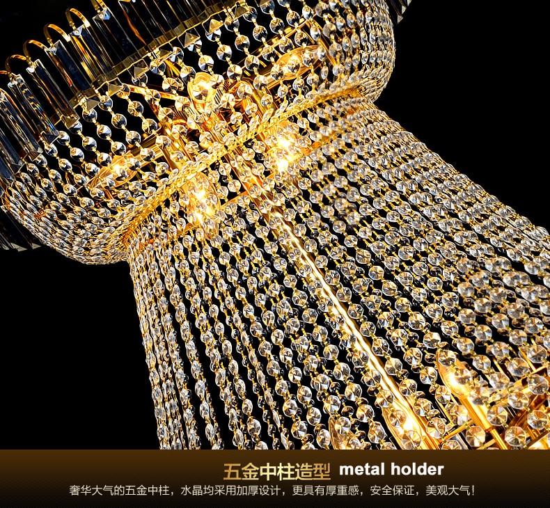 Modern Emas Kristal Chandelier Lampu Fixture Droplight Bulat Besar - Pencahayaan dalam ruangan - Foto 4