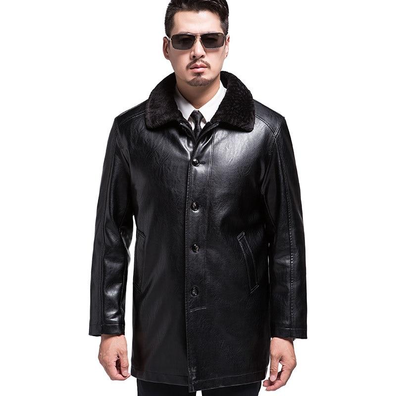 KUYOMENS Winter Faux Fur font b Mens b font Leather High Quality font b Men s