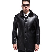 Sinterklaas KUYOMENS Winter Faux Fur Mens Leather High Quality Men's PU Jackets 2017 Winter Thicken Casual Leather Coat Plus Size M-3XL