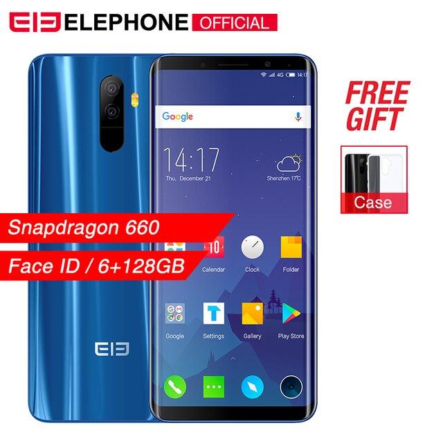 """Cargadores de coche Elephone U Pro 5,99 """"Snapdragon 660 teléfono móvil Android 8,0 6 GB 128 GB Octa Core 13MP Face ID huella dactilar NFC 4G LTE Smartphone"""
