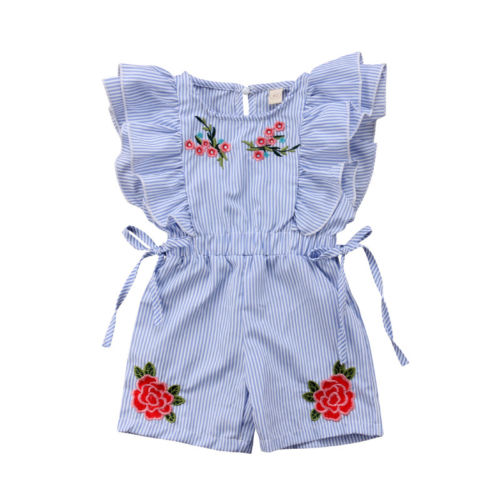 Emmbabay Fashion Cute Toddler Kids Baby Girl Flower Striped Ruffle   Romper   Embroidery Flower Summer Blue Lace-up Jumpsuit Clothes