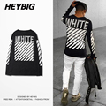 T-shirt Dos Homens de Manga Comprida off white Tee Hip hop HEYBIG Moda Americana Skate Tops Diagonais Impresso Encabeça Dimensionamento Chinês