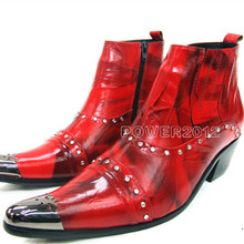 Fashion Nieten Aus Echtem Leder Stiefeletten für Männer Punk Plus Größe Rot Spitz Kurze Stiefel Partykleid Stiefel Schuhe
