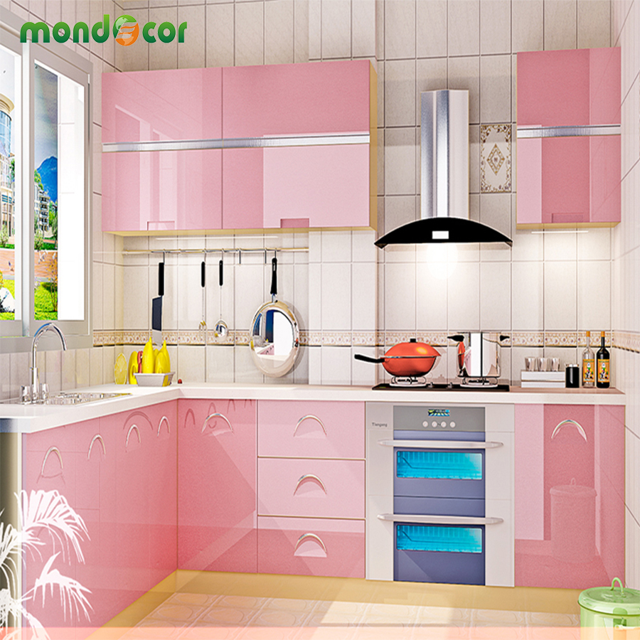 New glossy pvc waterproof self adhesive wallpaper for for Kitchen wardrobe cabinet